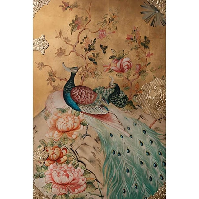 Hand Painted Peacock Bar Cabinet For Sale In New York - Image 6 of 7