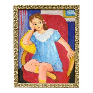 Midcentury French Portrait of a Girl For Sale