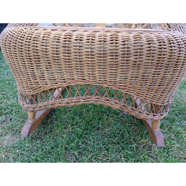 Victorian Wicker Rocking Chair Nursing Rocker in Original Condition Excellent Light Color 1800s Japanese Fanback For Sale - Image 10 of 11