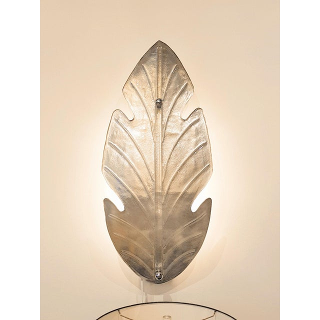 Baroque Extra Large Mid Century Modern Silver Leaf Murano Glass Sconces Attr to Barovier- A Pair For Sale - Image 3 of 9