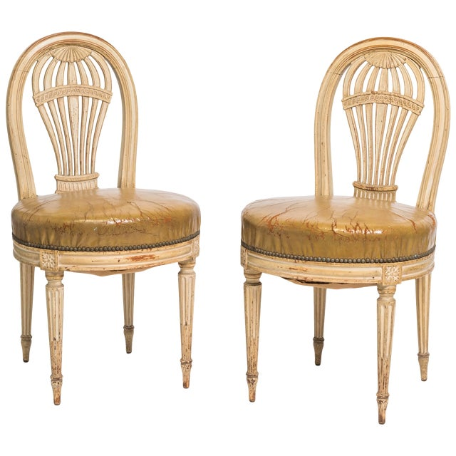 1920s Vintage French Hot Air Balloon Side Chairs- a Pair For Sale