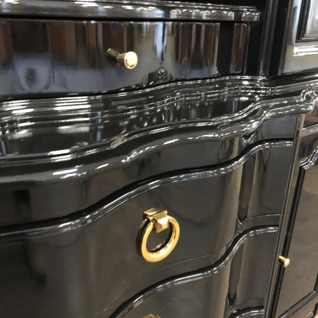 1970s Vintage Black Lacquer China Cabinet For Sale - Image 9 of 12