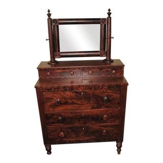 Antique Empire Mahogany Dresser & Mirror Vanity For Sale