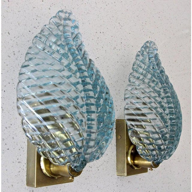 Metal 1950s Barovier Murano Aqua Blue Leaf Glass Wall Sconces - a Pair For Sale - Image 7 of 12