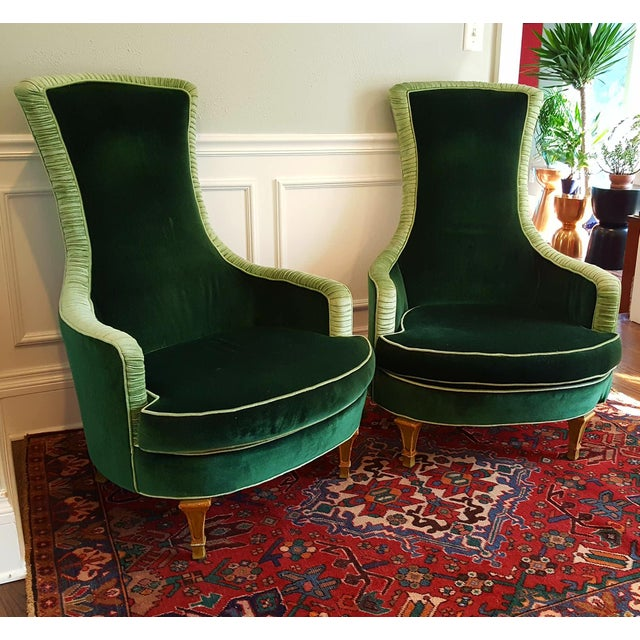 Outstanding pair of vintage empire Alice in Wonderland club chairs fit for royalty. High back, gorgeous curves and lovely...