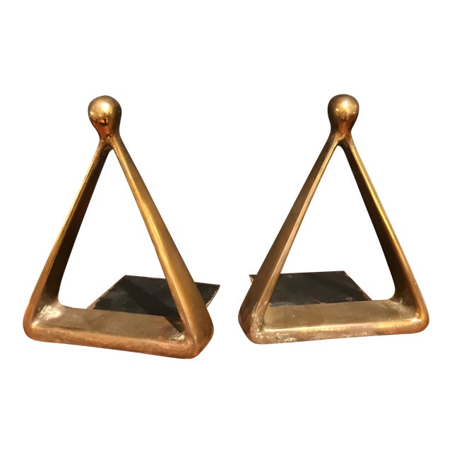 Ben Seibel Brass Bookends - A Pair - Image 1 of 4
