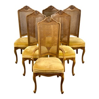 Vintage Stanley Furniture Woven Birdseye Provincial Dining Chairs - Set of 6 For Sale