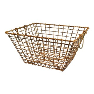 Vintage French Wire Oyster Basket With Handles For Sale
