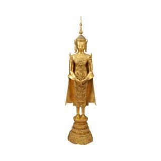 Antique Gilt Metal Thai Buddha Statue For Sale