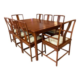 Late 20th Century Solid Rosewood Extension Dining Table + Eight Chairs Set For Sale