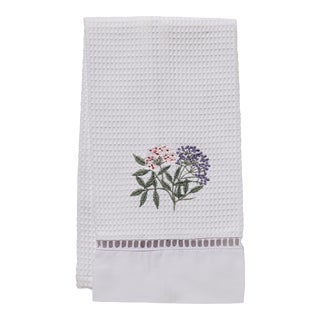 Elderberry Guest Towel White Waffle Weave, Ladder Lace, Embroidered For Sale