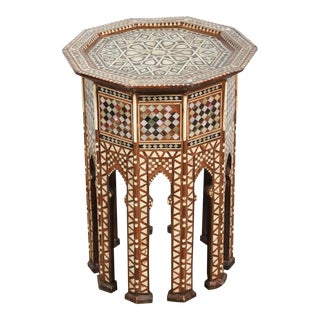Syrian Octagonal Side Table with Mother-Of-Pearl Inlay For Sale