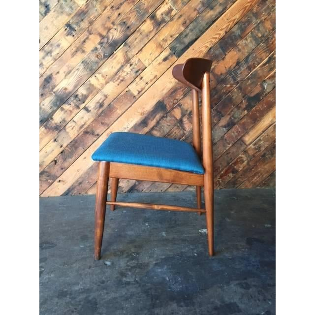 Mid Century Refinished Reupholstered Walnut Dining Desk Chair - Image 3 of 6