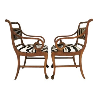 Vintage Carved Zebra Armchairs - Pair For Sale