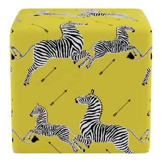 Cube Ottoman in Yellow Zebra By Scalamandre For Sale