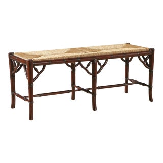 Faux Bamboo Bench With Rush Seat For Sale