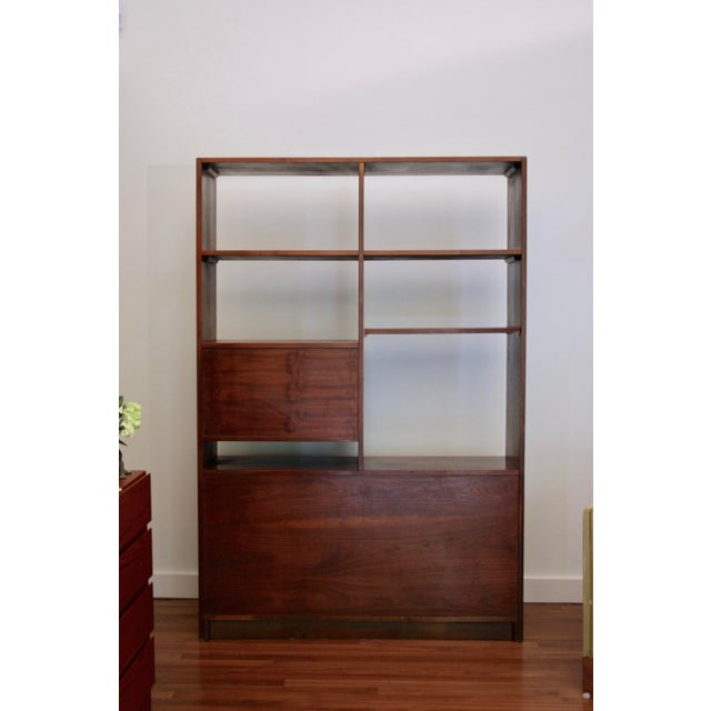 1970s Danish Modern Room Divider Bookcase in Walnut For Sale - Image 5 of 13