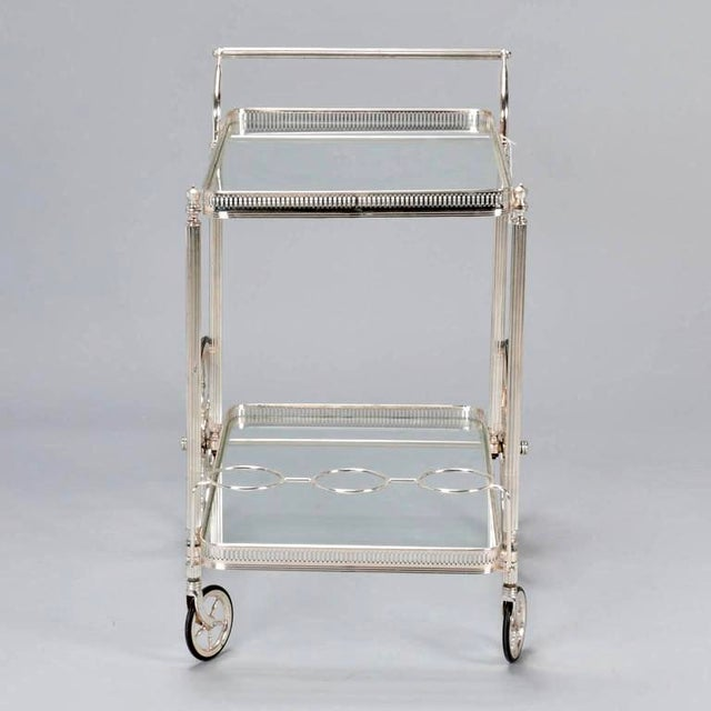 Mid-Century Nickel Plated Bar Cart or Drink Trolley - Image 4 of 8