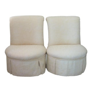 Mid-Century Upholstered Slipper Chairs - A Pair