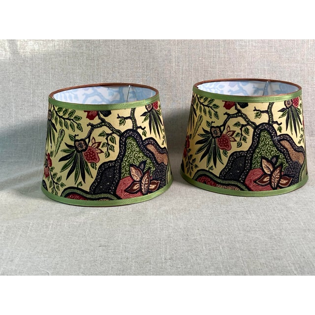 2020s Batik Fabric Covered Handmade Lampshades - A Pair For Sale - Image 5 of 5