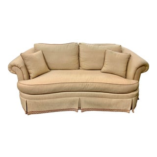 Ethan Allen Curved Skirted Loveseat For Sale