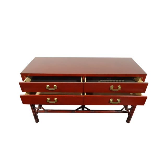 Ficks Reed Red Asian Sideboard Console - Image 3 of 11