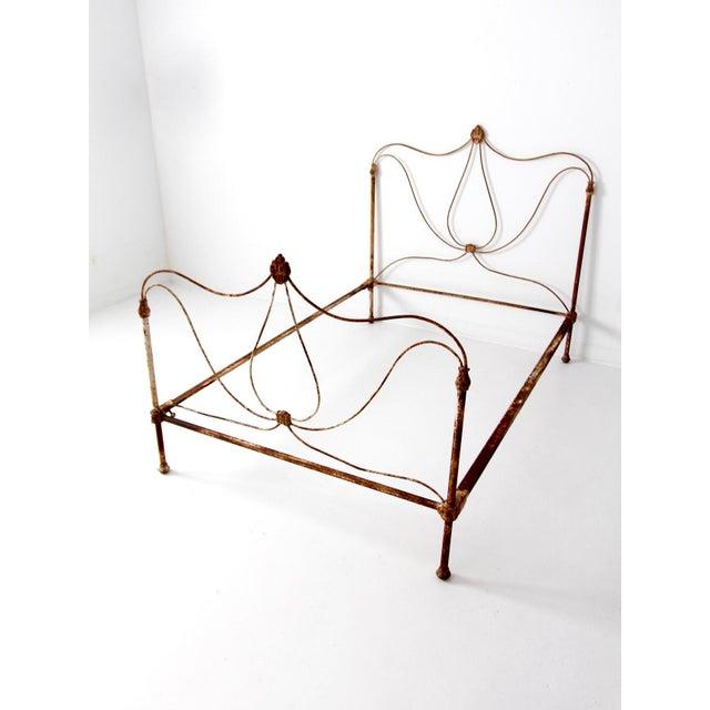 Antique Art Nouveau Iron Bed - Image 2 of 10