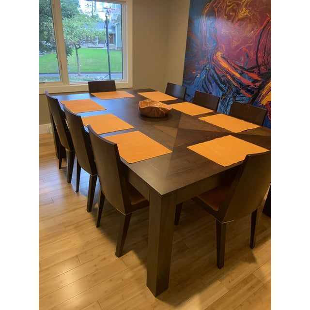 Contemporary Modern Dining Table & Leather Chairs For Sale - Image 3 of 9