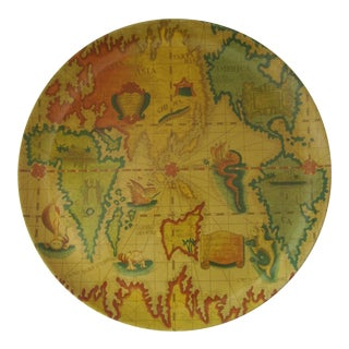 Vintage Round Melamine Map Tray For Sale
