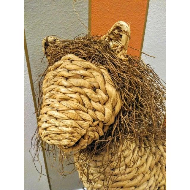 1980s Vintage Mario Lopez Torres Style Raffia Wicker Whimsical Lion Figure Statue Decor For Sale - Image 5 of 7