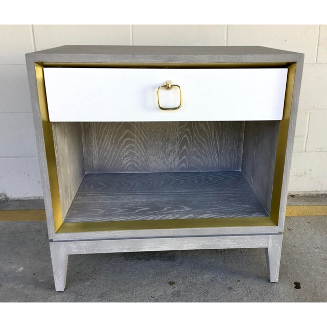 Original retail $1713, elegant Bungalow 5 modern cerused gray finished one drawer side table, white drawer, brass finished...