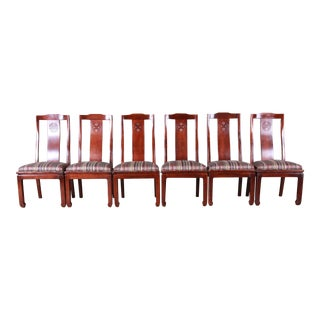 Bernhardt Mahogany Chinoiserie Dining Chairs - Set of 6 For Sale