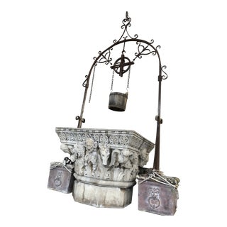 Wishing Well Old 1920s Concrete Water With Theatrical Figures and Iron Detail For Sale
