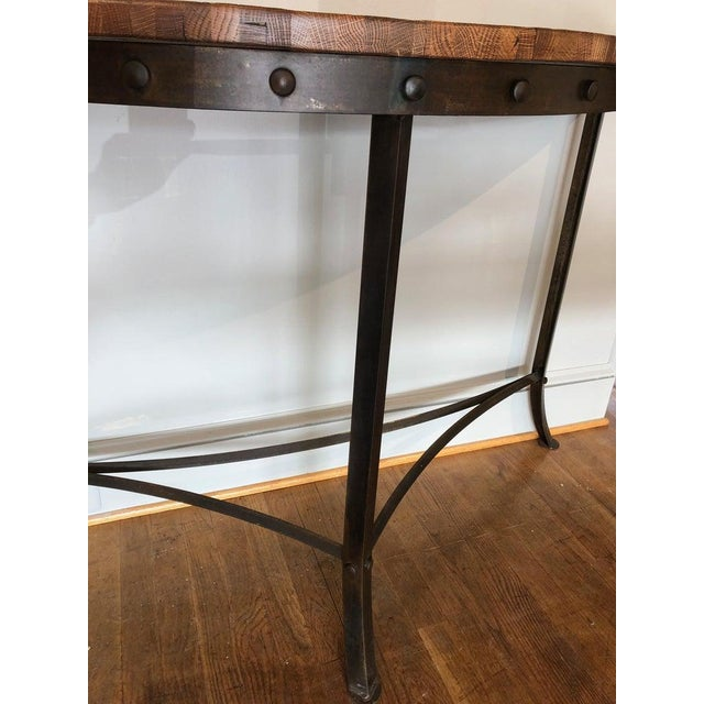 Modern Wrought Iron and Repurposed Oak Console Table For Sale - Image 4 of 7