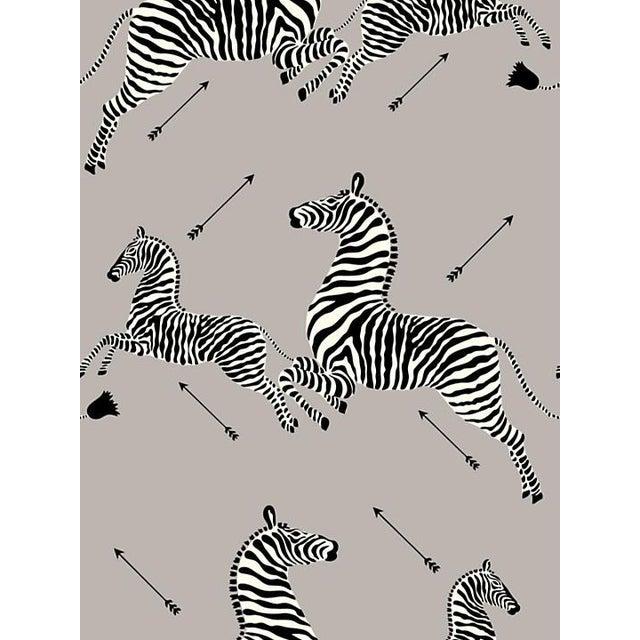 Safari Sample, Scalamandre Zebras, Silver Wallpaper For Sale - Image 3 of 3