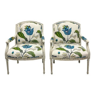 Vintage Gustavian Style Bergere Chairs - a Pair For Sale