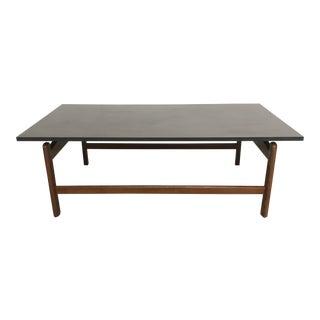 Vintage Mid-Century Modern Jens Risom Black Slate Top Teakwood Coffee Table For Sale