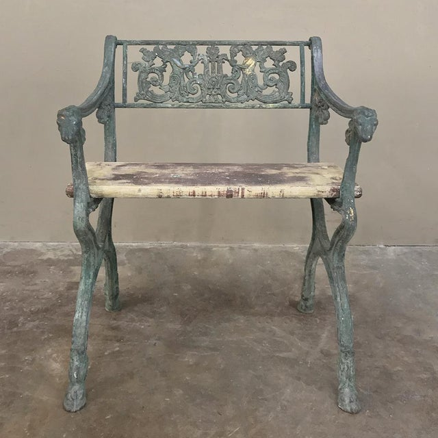 19th Century French Charles X Cast Iron Armchair is the ideal choice for your garden, sunroom or patio! Such examples of...