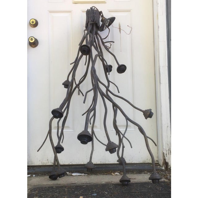 This listing is for a modern Metal tree branch chandelier. Condition-excellent used condition with minor signs of wear as...