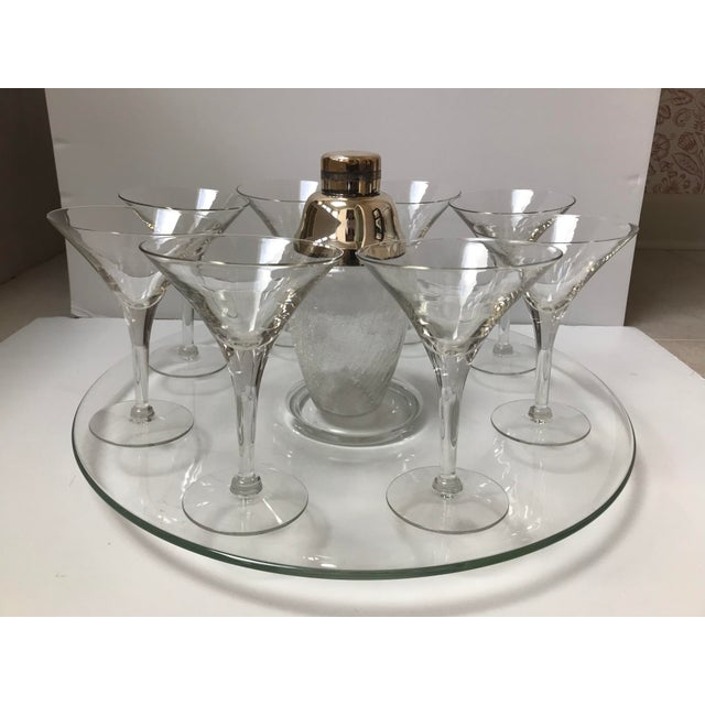 Silver Set of 8 Martini Glasses, Glass Platter, Cocktail Shaker For Sale - Image 8 of 9