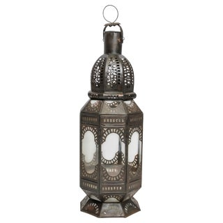 Moroccan Metal and Clear Glass Candle Lantern For Sale