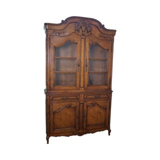 Fine Quality French Country Style Large Fruitwood Hutch China Cabinet For Sale