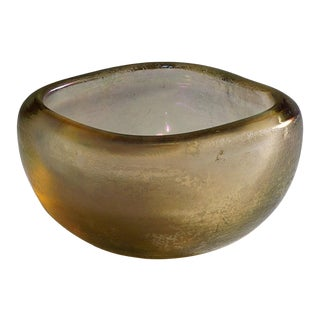 Carlo Scarpa 'Vetro Corroso Aurato' Glass Bowl for Venini Ca. 1936 For Sale