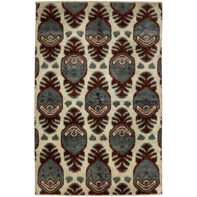"""New Ikat Hand Knotted Area Rug - 6'2"""" X 9'2"""" - Image 1 of 3"""