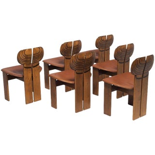 Africa Chairs by Afra and Tobia Scarpa With Cognac Leather Seating For Sale