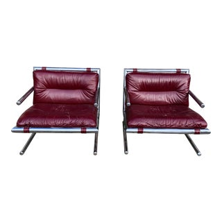 1970s Vintage Arthur Umanoff for Directional Leather & Chrome Lounge Chairs - a Pair For Sale