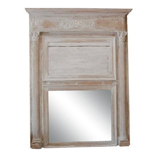 19th Century French Neoclassical Painted Trumeau Mirror For Sale