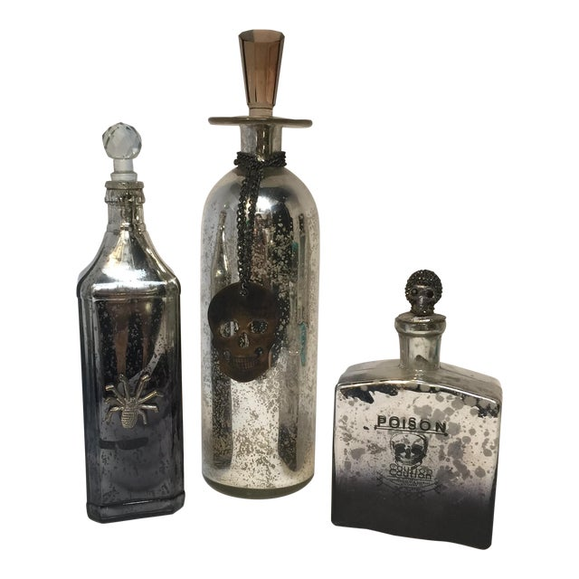 Wiccan Mercury Glass Decanters - Set of 3 - Image 1 of 10