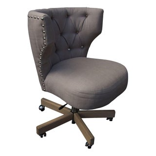 Giselle Office Swivel Chair in Warm Grey Linen