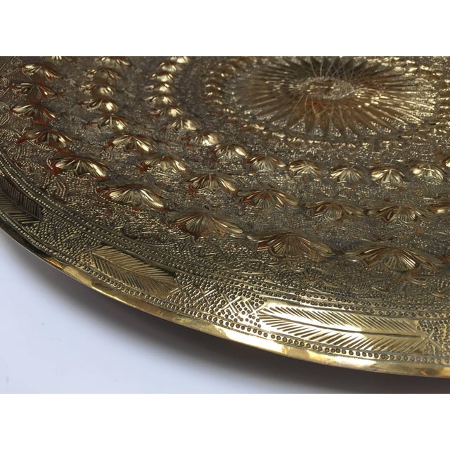 Bamboo Indo Persian Brass Metal Tray Table For Sale - Image 7 of 13